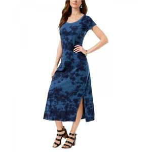 NWT Style & Co. Printed Maxi Dress Medium Blue Dye